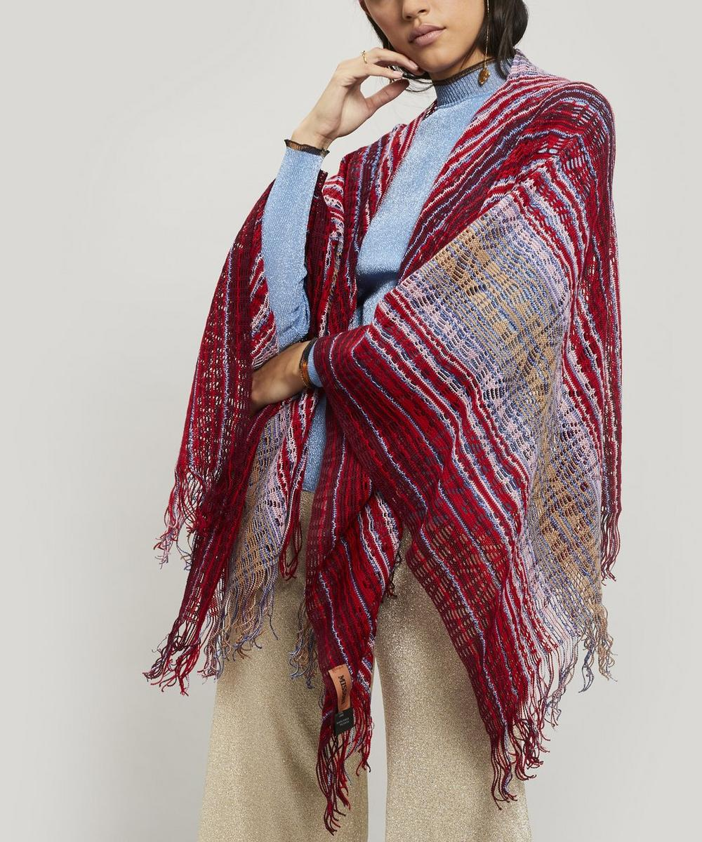 Zig-Zag Stripe Open Weave Cape