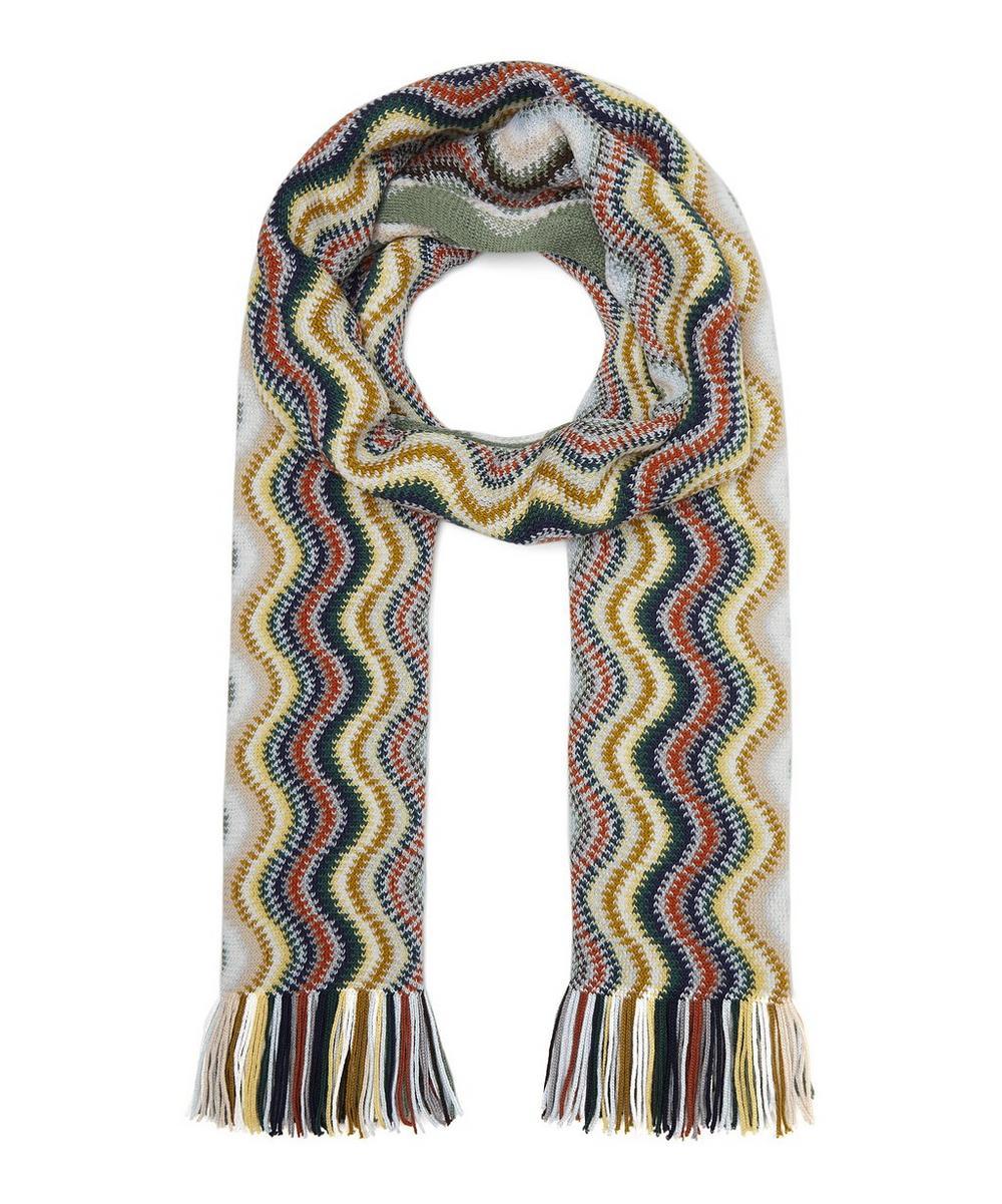 Wave Stripe Wool-Blend Scarf