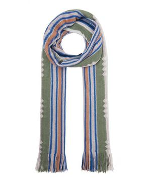 Vertical Stripe Zig-Zag Detail Wool-Blend Scarf