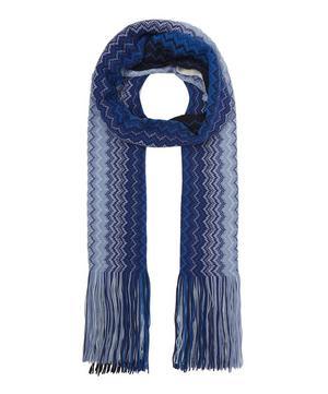 Ombre Zig-Zag Stripe Long Tassel Wool-Blend Scarf