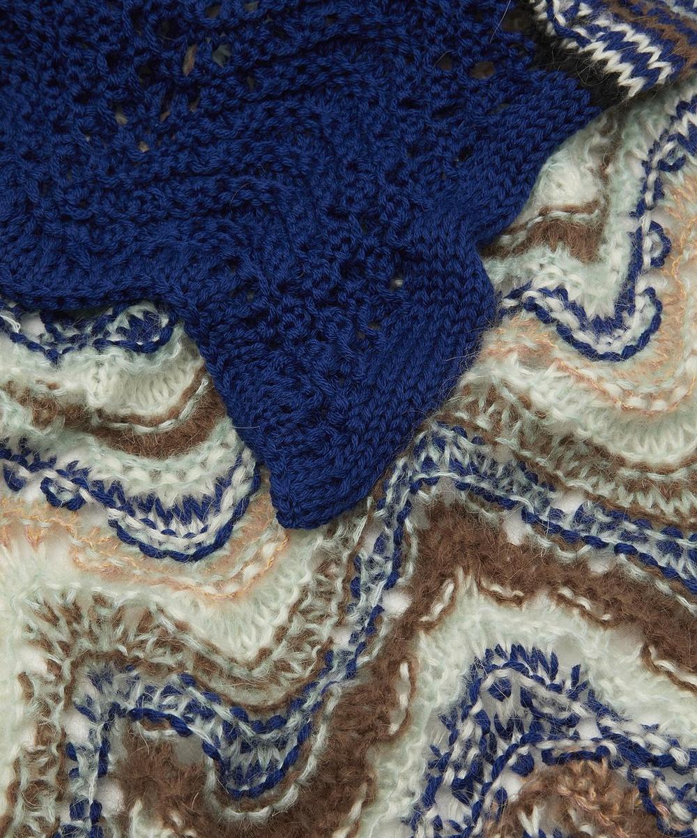 Zig-Zag Stripe Open Weave Wool-Blend Scarf