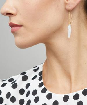 Gold-Plated Thread Through Feather Mother of Pearl Drop Earrings