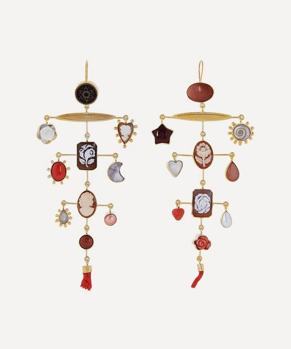 Gold-Plated Balance Asymmetric Multi-Stone Drop Earrings