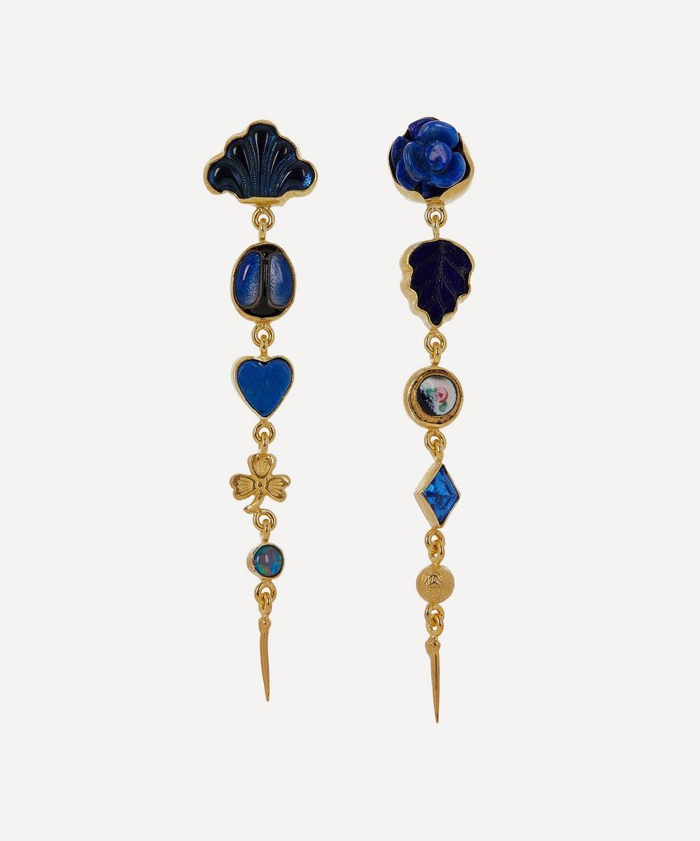 Gold-Plated Asymmetric Five Charm Victorian Drop Earrings
