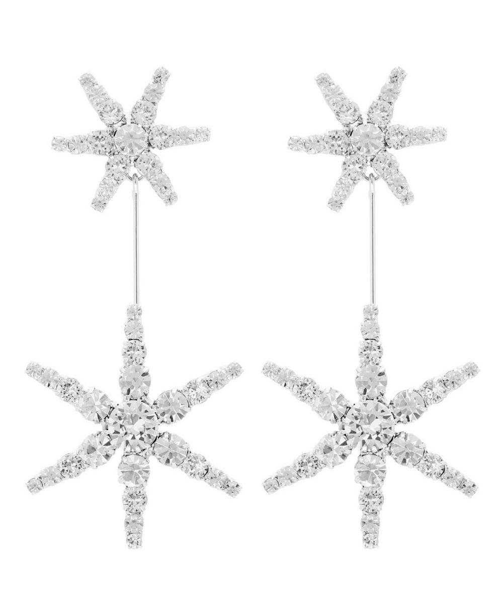 Silver-Tone Estee Crystal Star Drop Earrings