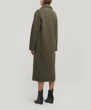 Boucle Wool Long Wrap Coat