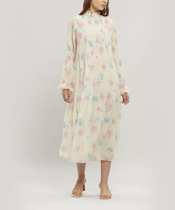 Long-Sleeved Pleated Floral Georgette Dress
