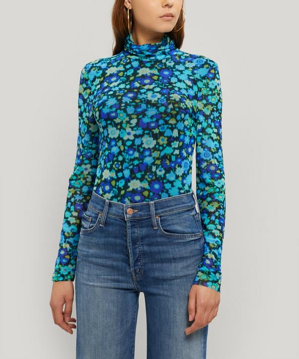 Long-Sleeved Mesh Floral Roll Neck