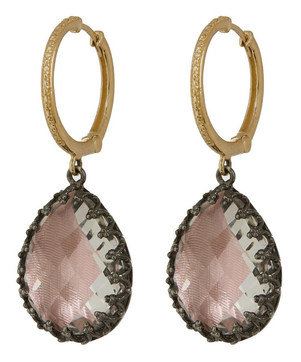 Gold and Silver Large Lady Jane White Quartz Hoop Earrings
