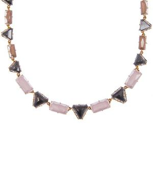 Gold-Washed Silver Caterina Geometric Rivière White Quartz Necklace