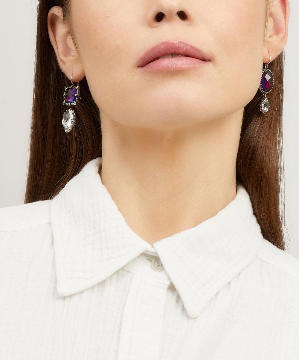 Rhodium-Washed Sadie Mismatched White Quartz Pear Drop Earrings