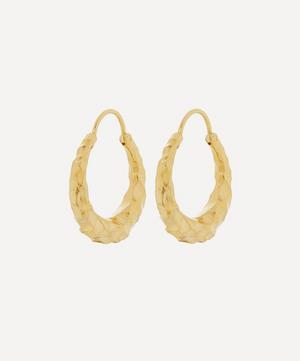 Gold Plated Vermeil Silver Fat Baby Snake Carved Hoop Earrings
