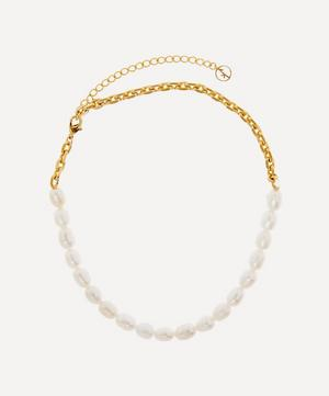 Gold-Plated Duel Pearl Choker Necklace