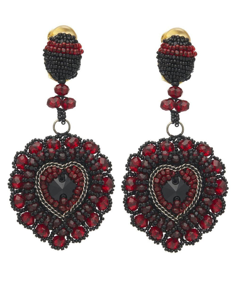 Oscar De La Renta Beaded Heart Drop Earrings In Cayenne