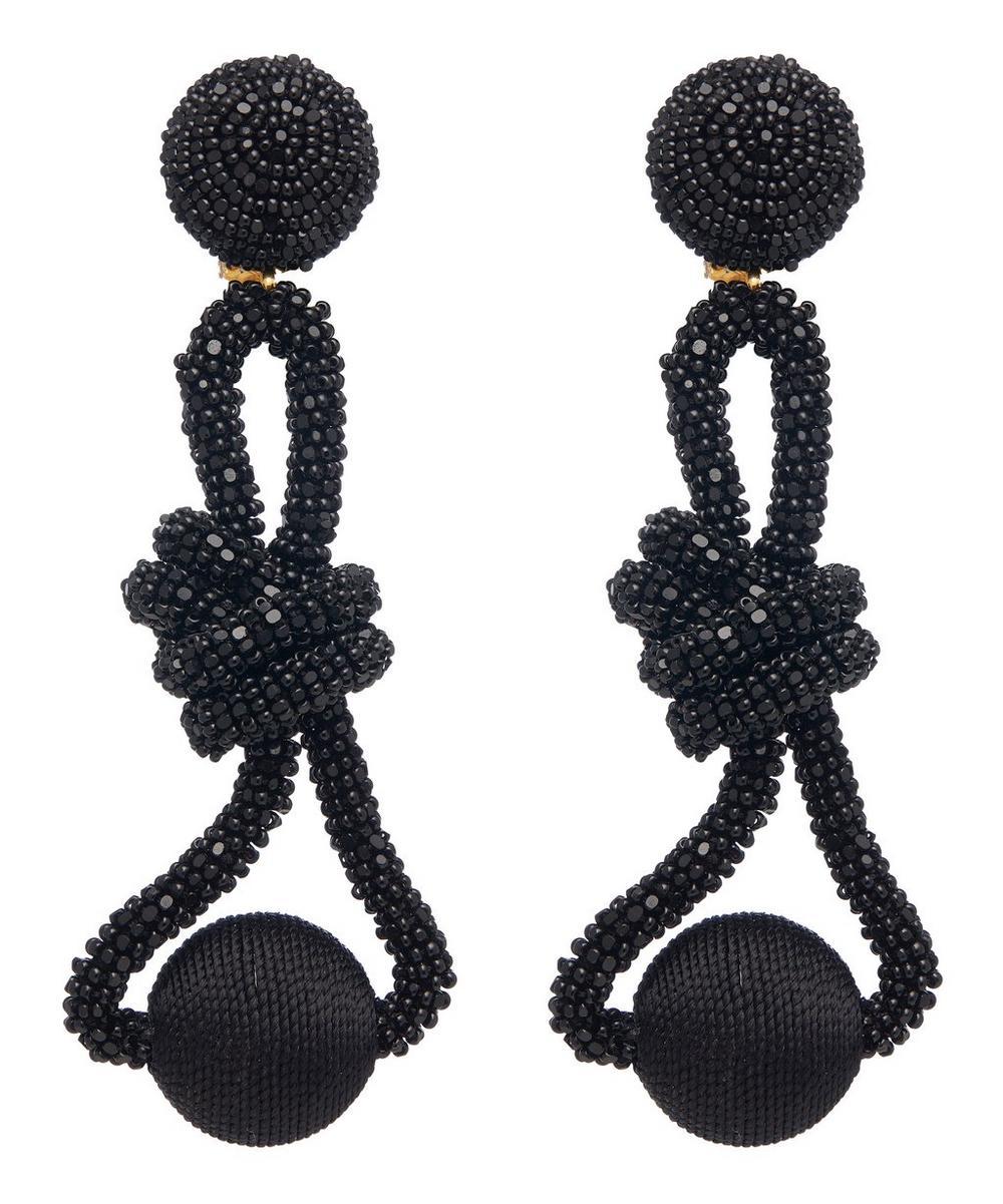 Oscar De La Renta Beaded Knot Clip-On Drop Earrings In Black