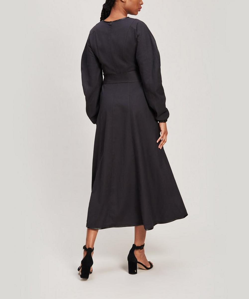 Maren Faux Leather-Trimmed Cotton Maxi Dress