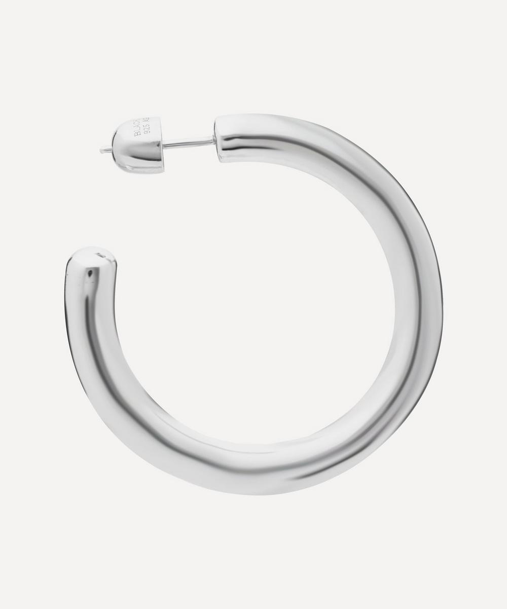 White Rhodium-Plated Ruby 35 Hoop Earring