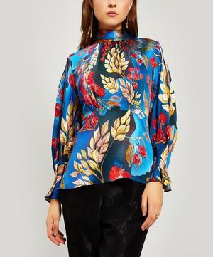 Tie Neck Floral Silk-Blend Blouse