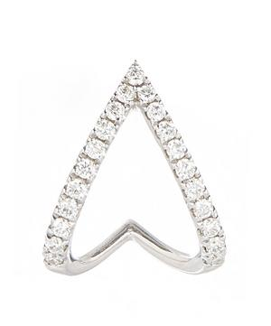 White Gold Arrow Diamond Huggie Hoop Earring