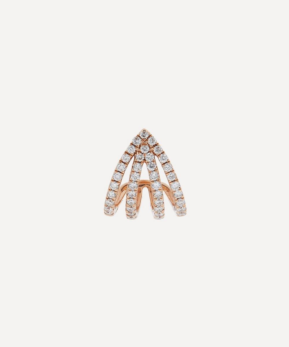 Roxanne First - Rose Gold Double Arrow Diamond Huggie Hoop Earring