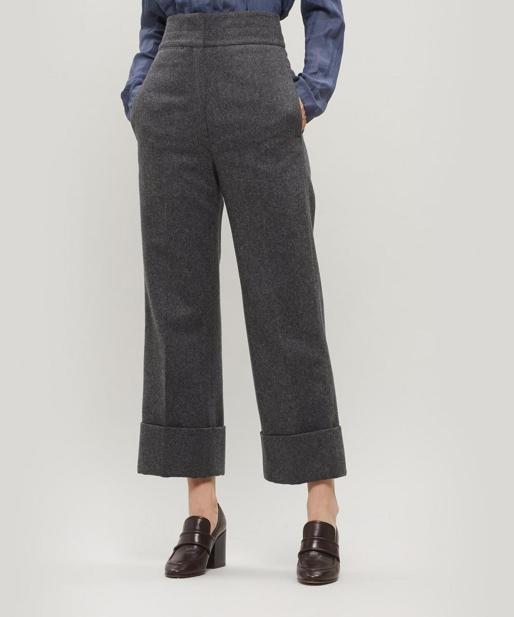 Lemaire Pants HIGH-RISE STRAIGHT-LEG WOOL-BLEND TROUSERS