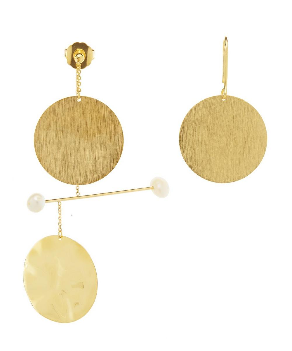 Gold-Plated Asymmetric Pearl Mobile Drop Earrings