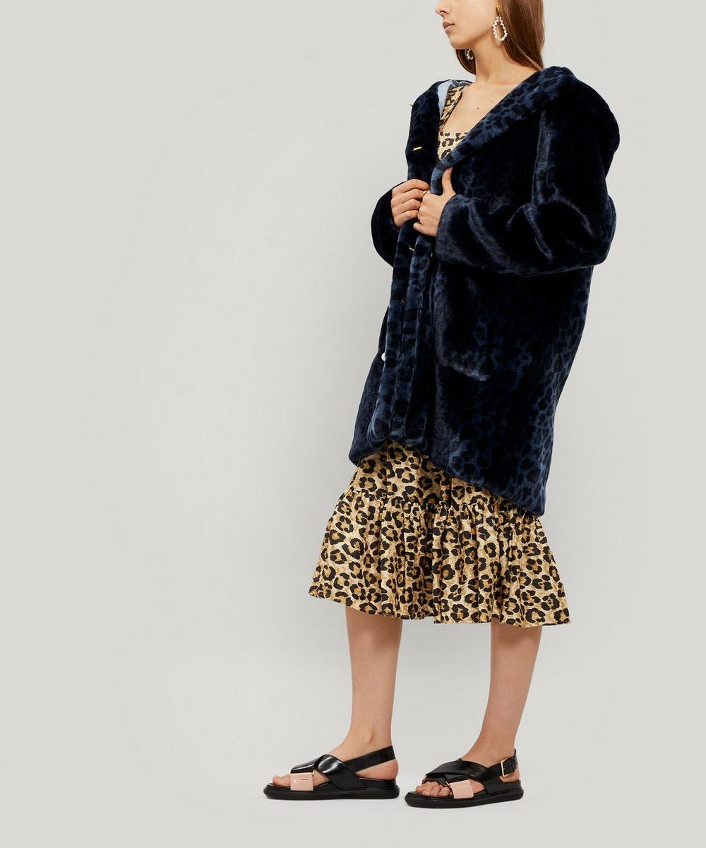 Gloria Leopard Print Faux-Fur Coat