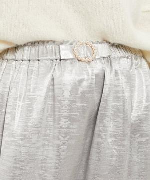 Pearl Belt Metallic Midi-Skirt