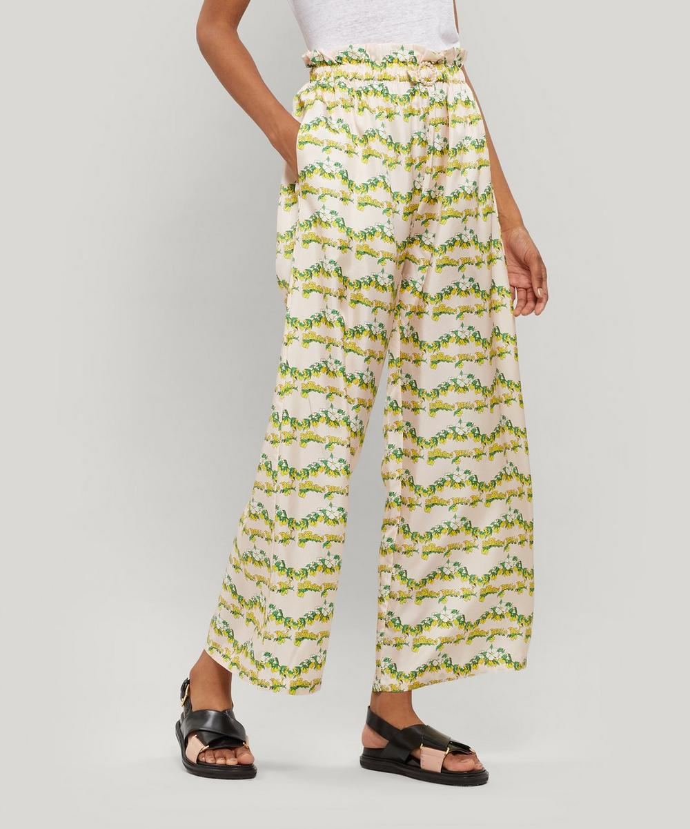 Shrimps Pants LIBRA LEMON-PRINT SILK TROUSERS