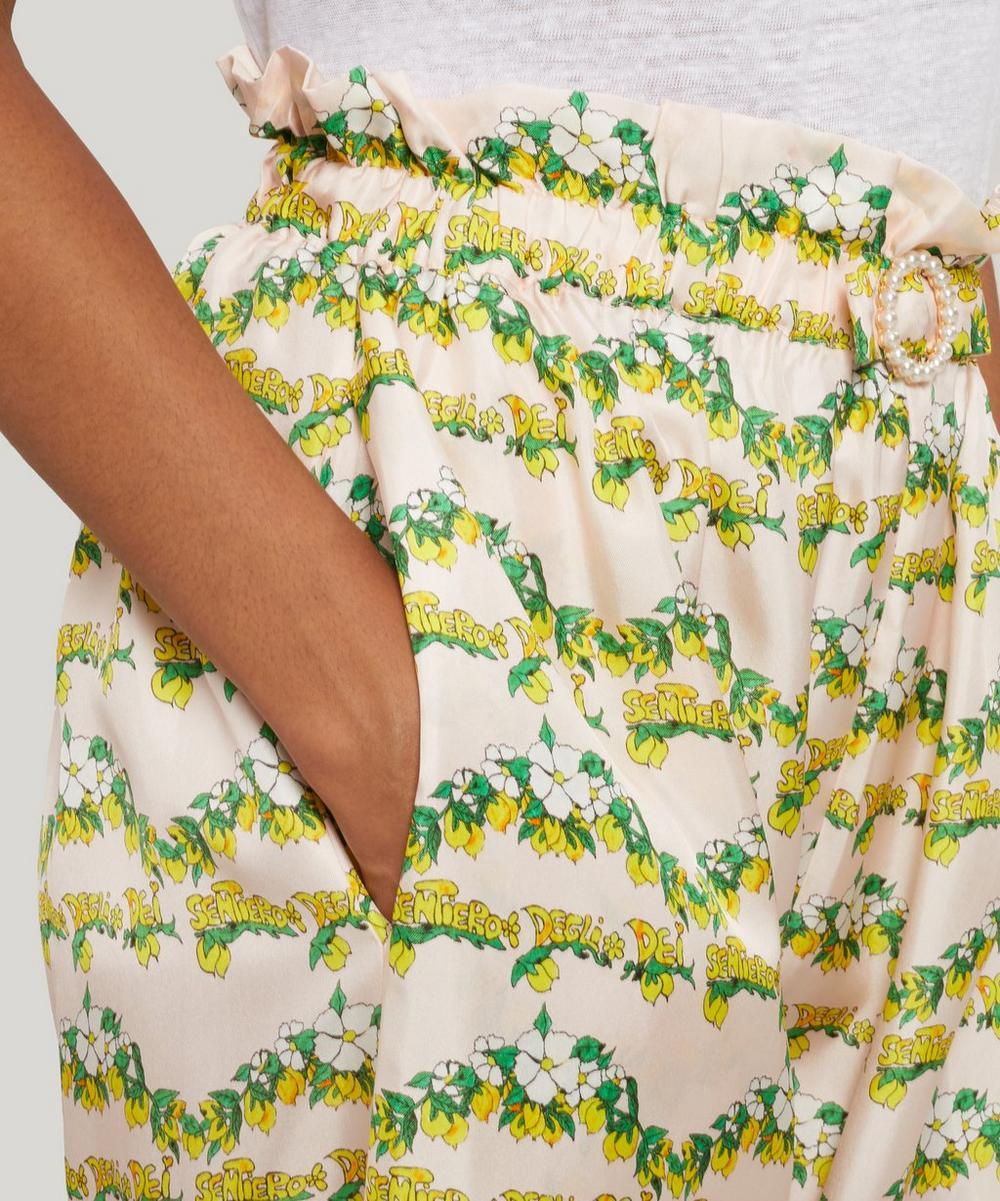 Libra Lemon-Print Silk Trousers
