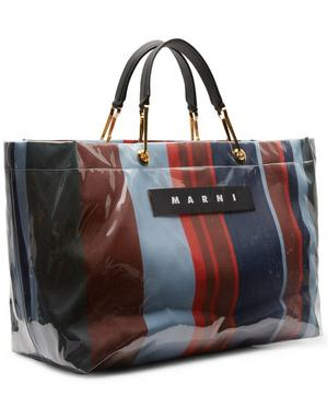 Glossy Grip Large Striped Shopping Bag