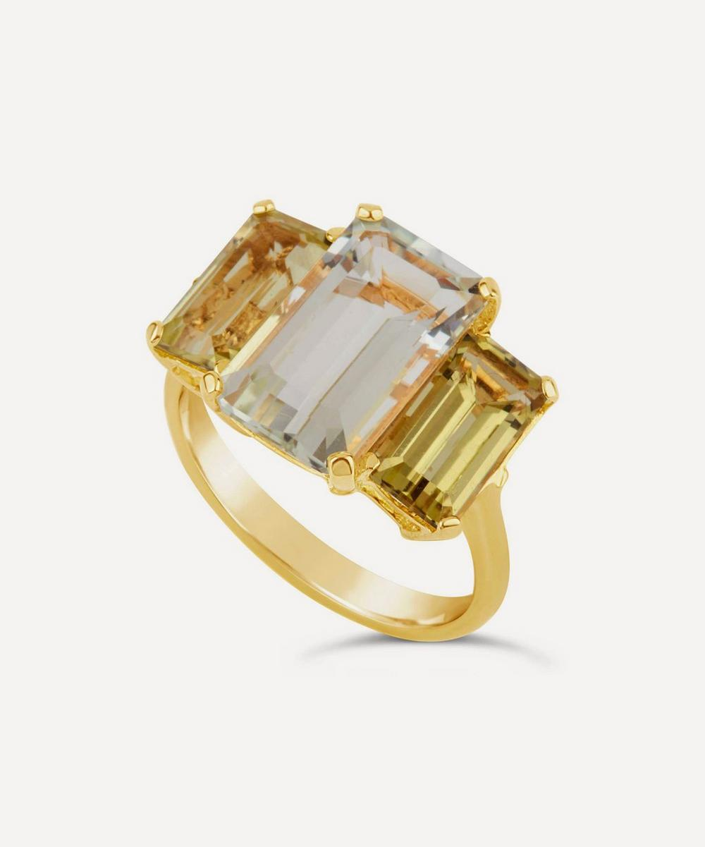 Gold Vermeil Trinny Trilogy Green Amethyst and Oro Verde Ring