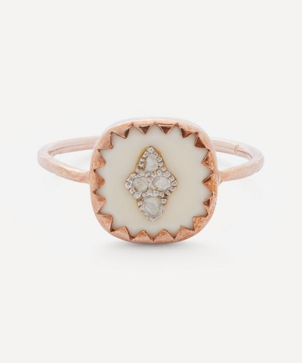 Rose Gold Pierrot Diamond and Bakelite Ring