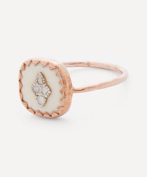 Rose Gold Pierrot Diamond and Bakelite Ring