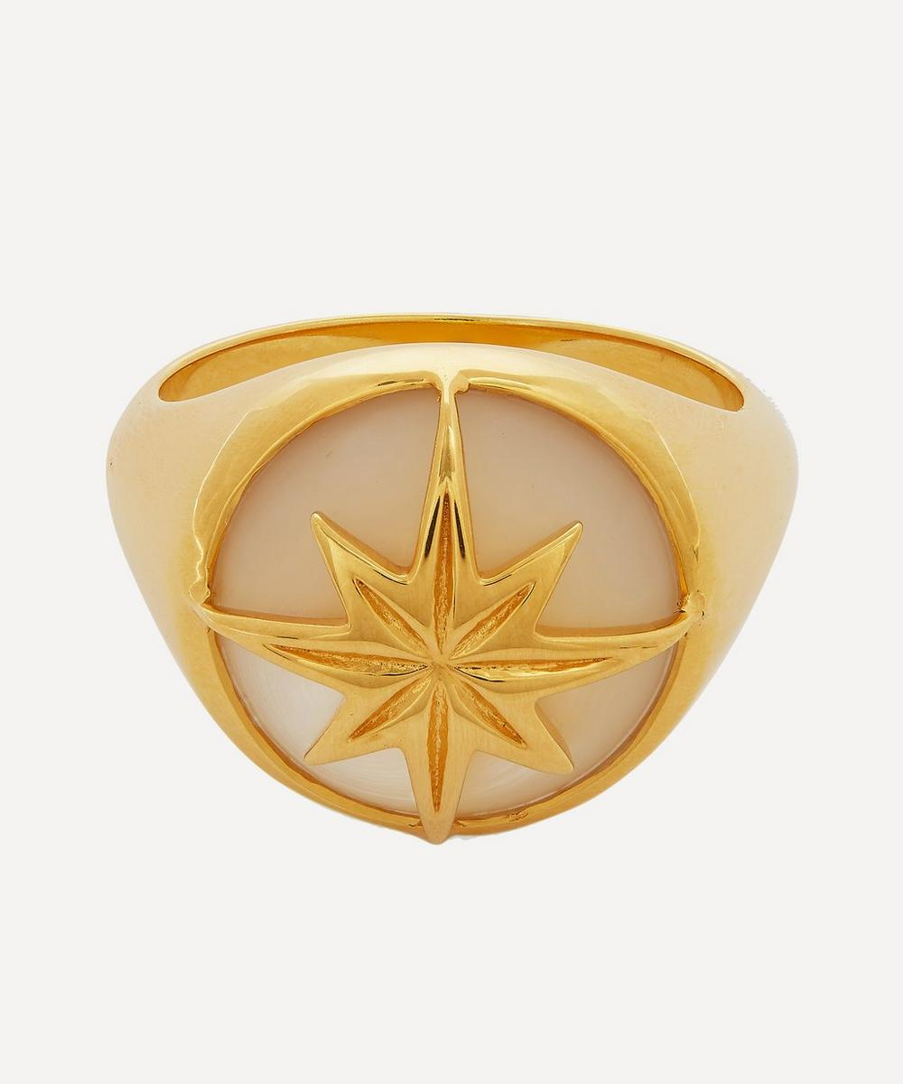 Gold-Plated Mother of Pearl Star Ring