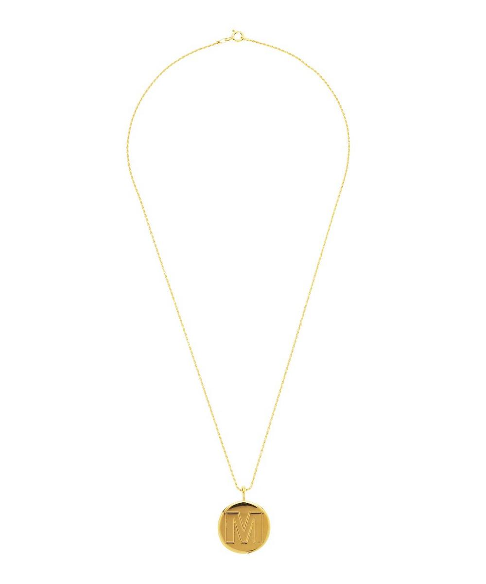 Gold-Plated Letter M Alphabet Pendant Necklace