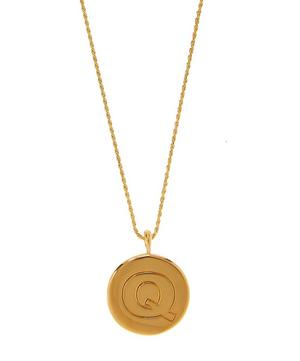 Gold-Plated Letter Q Alphabet Pendant Necklace