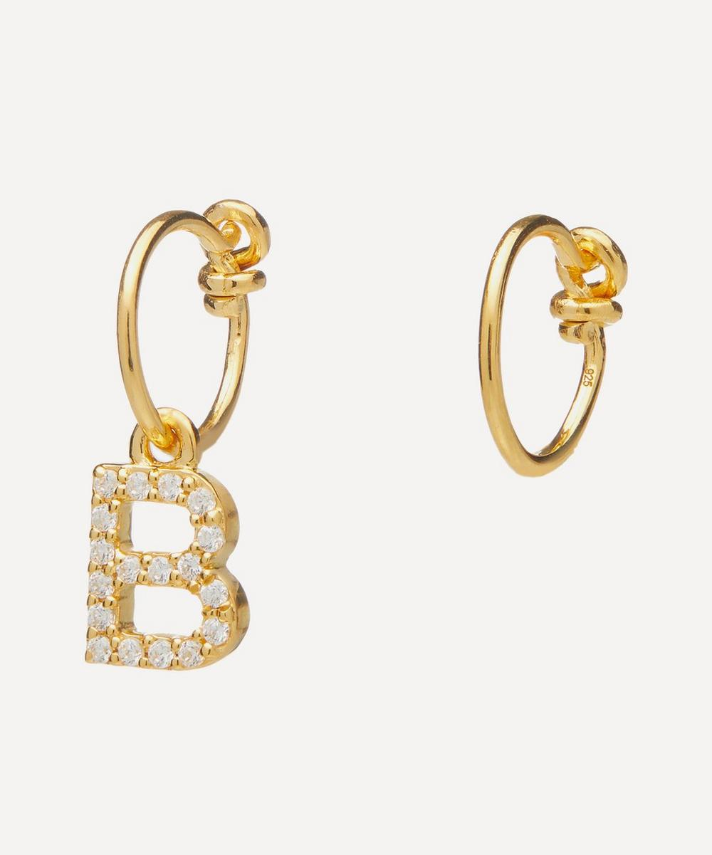 Gold-Plated Zircon Letter B Mismatched Hoop Earrings