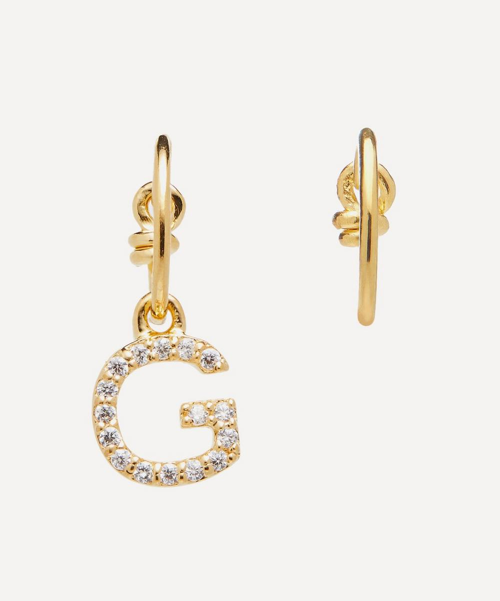 Gold-Plated Zircon Letter G Mismatched Hoop Earrings