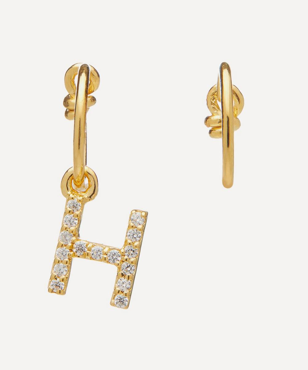 Gold-Plated Zircon Letter H Mismatched Hoop Earrings