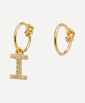 Gold-Plated Zircon Letter I Mismatched Hoop Earrings