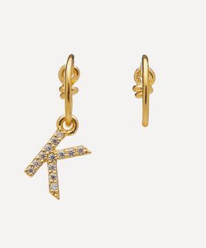 Gold-Plated Zircon Letter K Mismatched Hoop Earrings