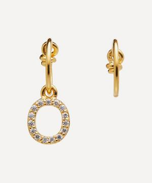 Gold-Plated Zircon Letter O Mismatched Hoop Earrings