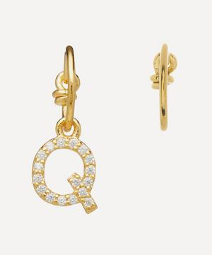 Gold-Plated Zircon Letter Q Mismatched Hoop Earrings