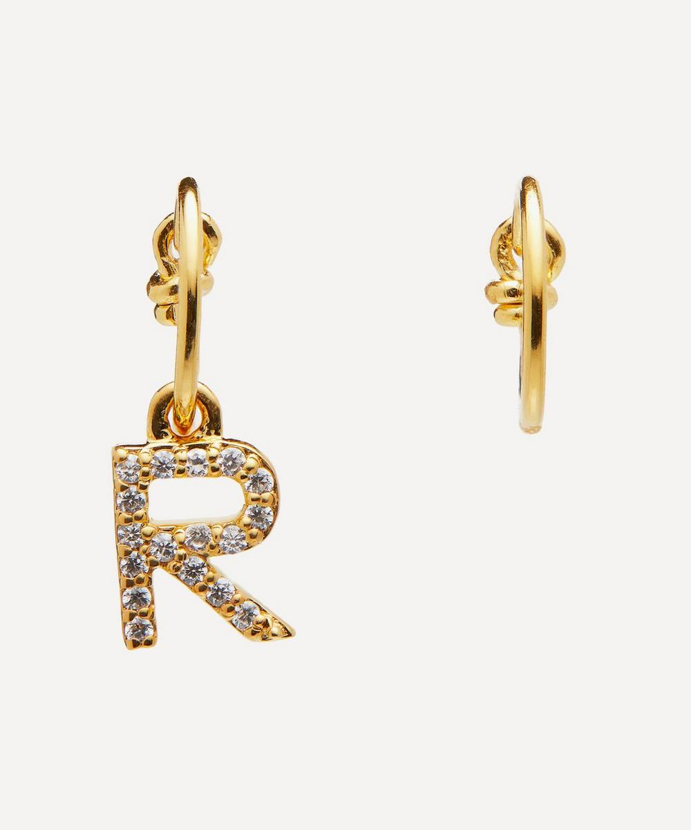 Gold-Plated Zircon Letter R Mismatched Hoop Earrings