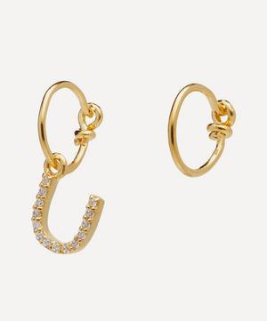 Gold-Plated Zircon Letter U Mismatched Hoop Earrings