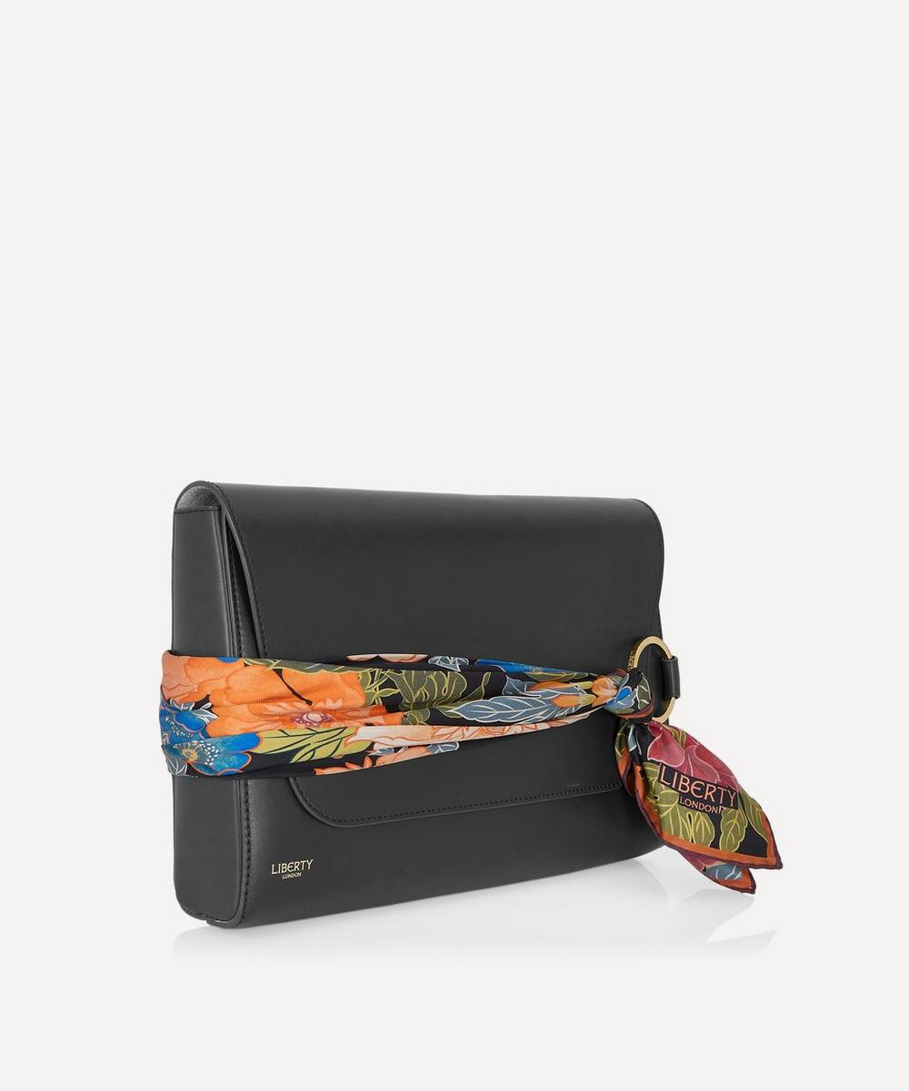 Stevie Leather Clutch Bag with Customisable Silk Scarf