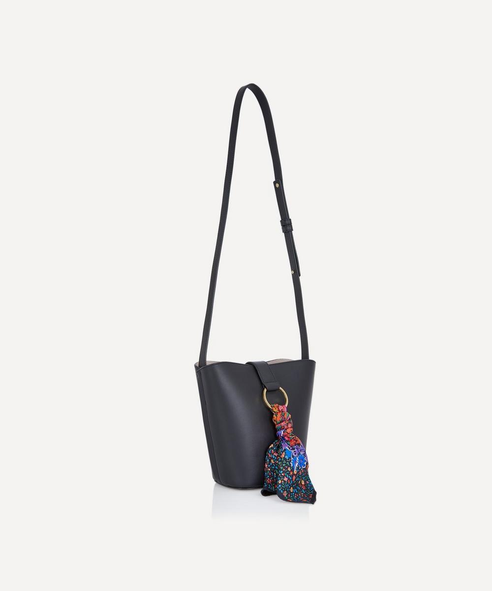 Brigitte Leather Mini Bucket Bag with Customisable Silk Scarf