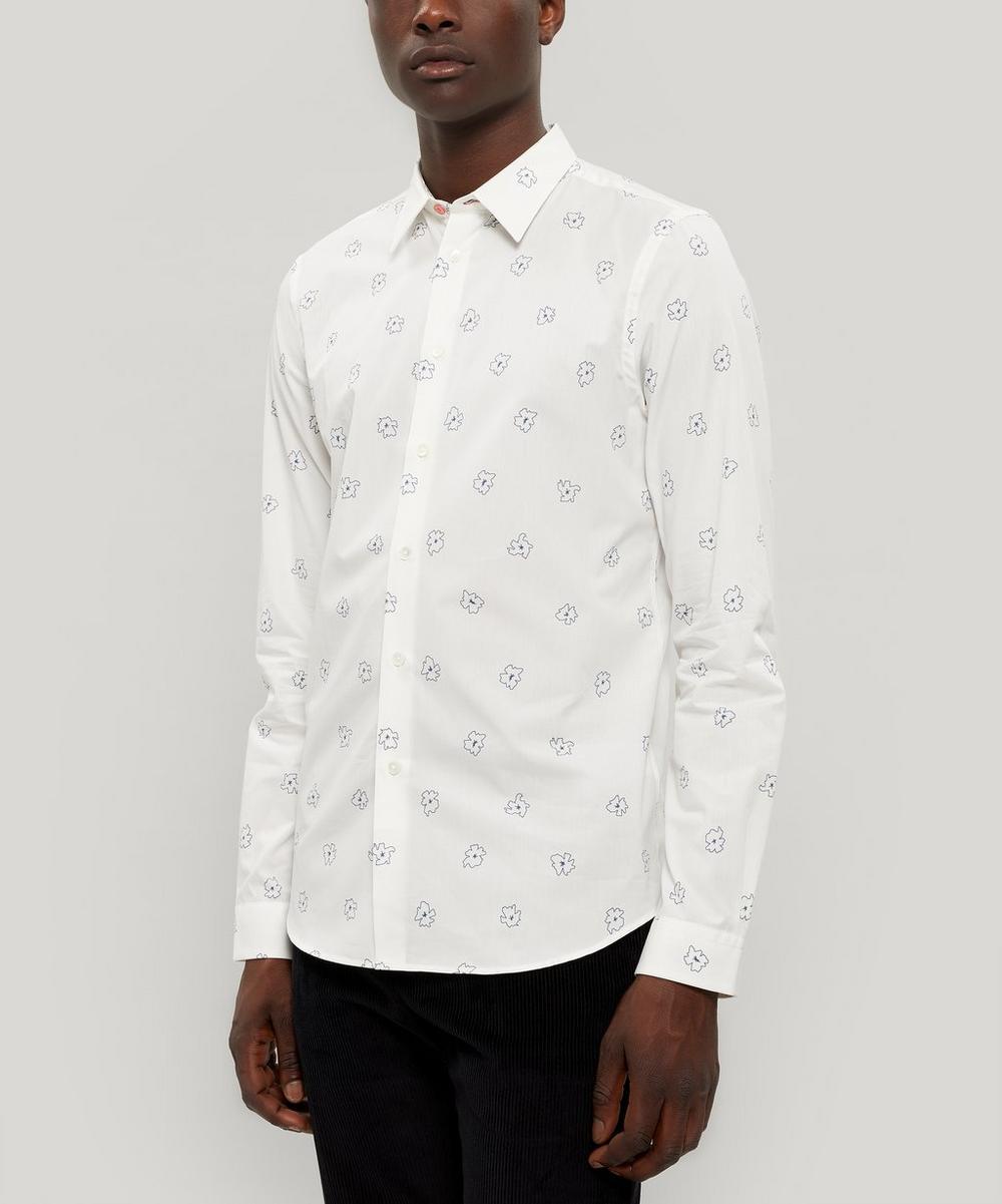 Scribble Floral Print Cotton Shirt
