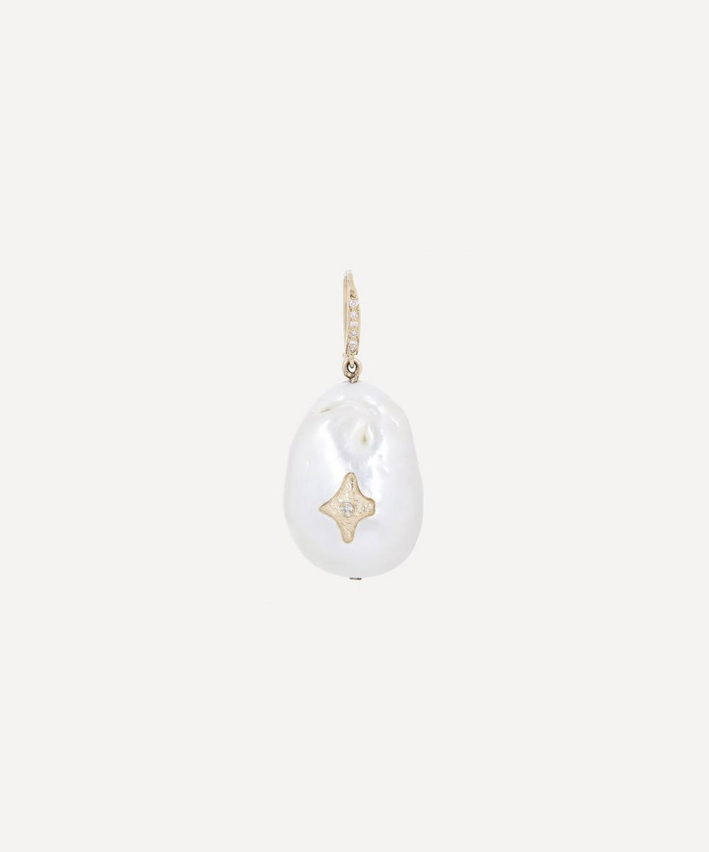 Gold Charlie N°2 Diamond and Pearl Drop Earring